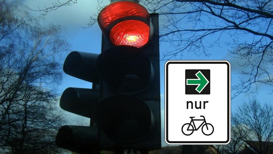 Grüner Pfeil für Radfahrende