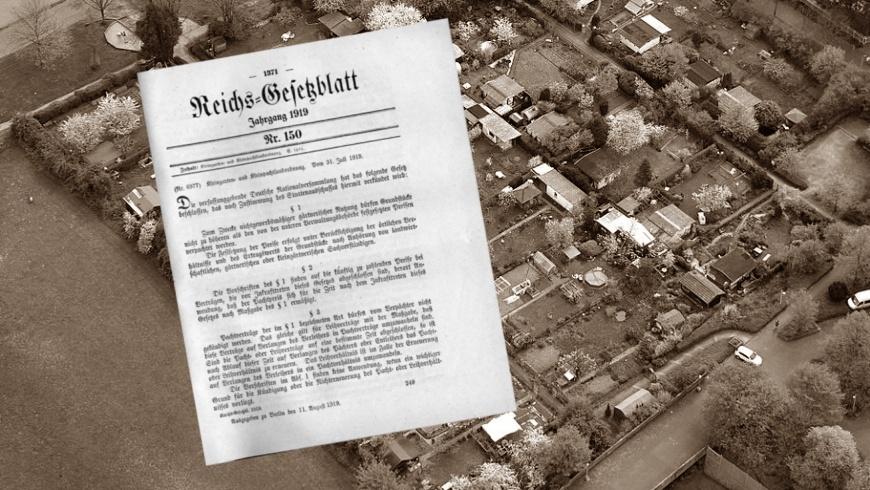 31.7.1919: 100 Jahre Kleingarten- und Pachtlandverordnung. Kleingartenanlage Karl-Legien-Straße in Bonn -
