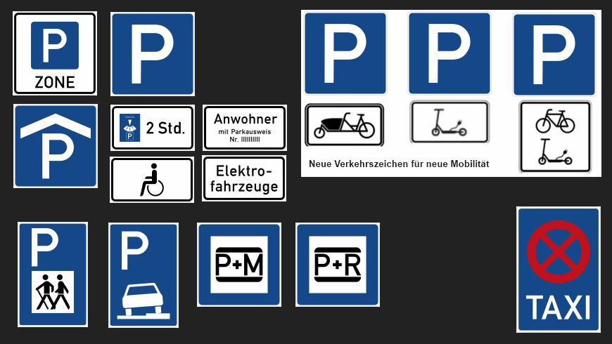 Parkplatz-Schilder-Vielfalt