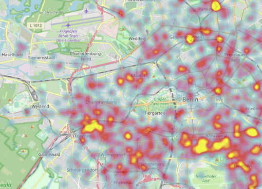 Karte der Fahrrad-Diebstähle in Berlin