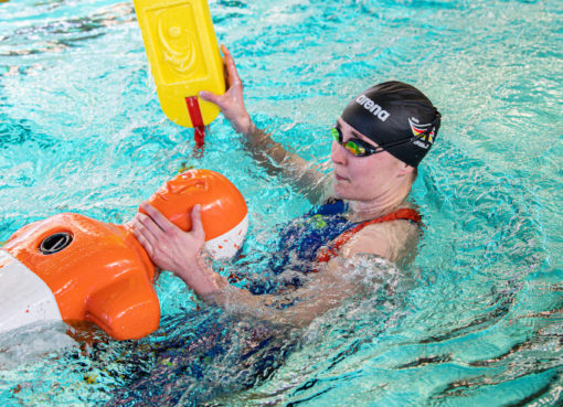 Routinier Kerstin Lange bei einem Qualifikationswettkampf - Foto: © DLRG/Dittschar, Fotograf: Steph Dittschar