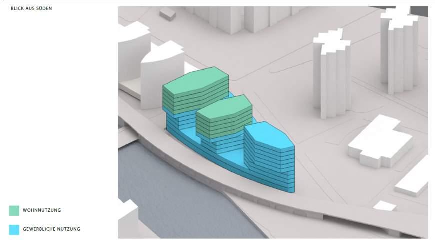 WIEWEIL - Städtebaulicher Entwurf mit drei Turmbauten auf zwei Sockelgeschossen - Architektur:  © Architekten Graft mit Kleihues + Kleihues